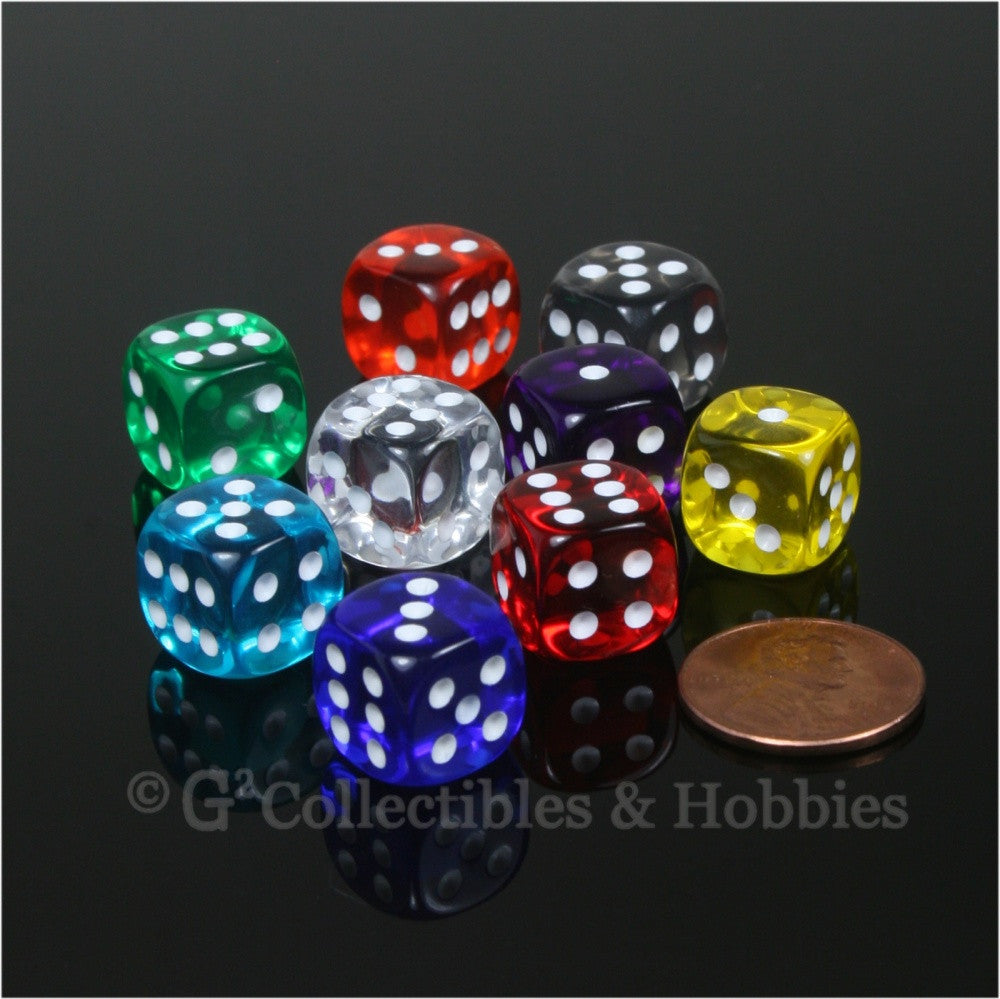 D6 12mm Transparent Multicolor 9pc Dice Set - 9 Colors