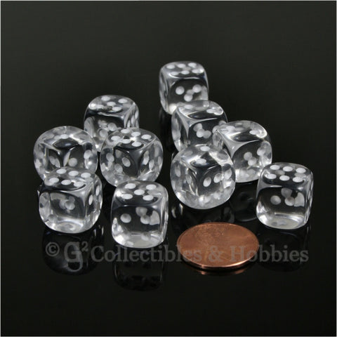 D6 12mm Transparent Clear with White Pips 10pc Dice Set