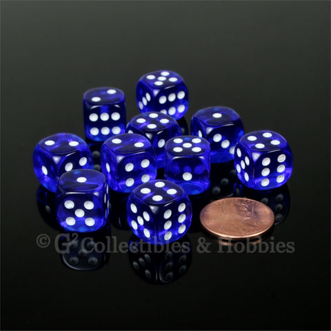 D6 12mm Transparent Dark Blue with White Pips 10pc Dice Set