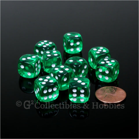 D6 12mm Transparent Green with White Pips 10pc Dice Set