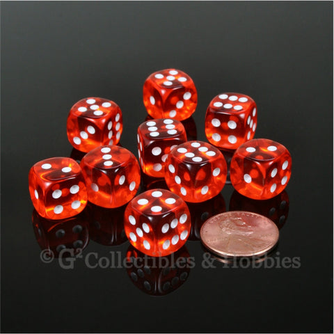D6 12mm Transparent Orange with White Pips 10pc Dice Set