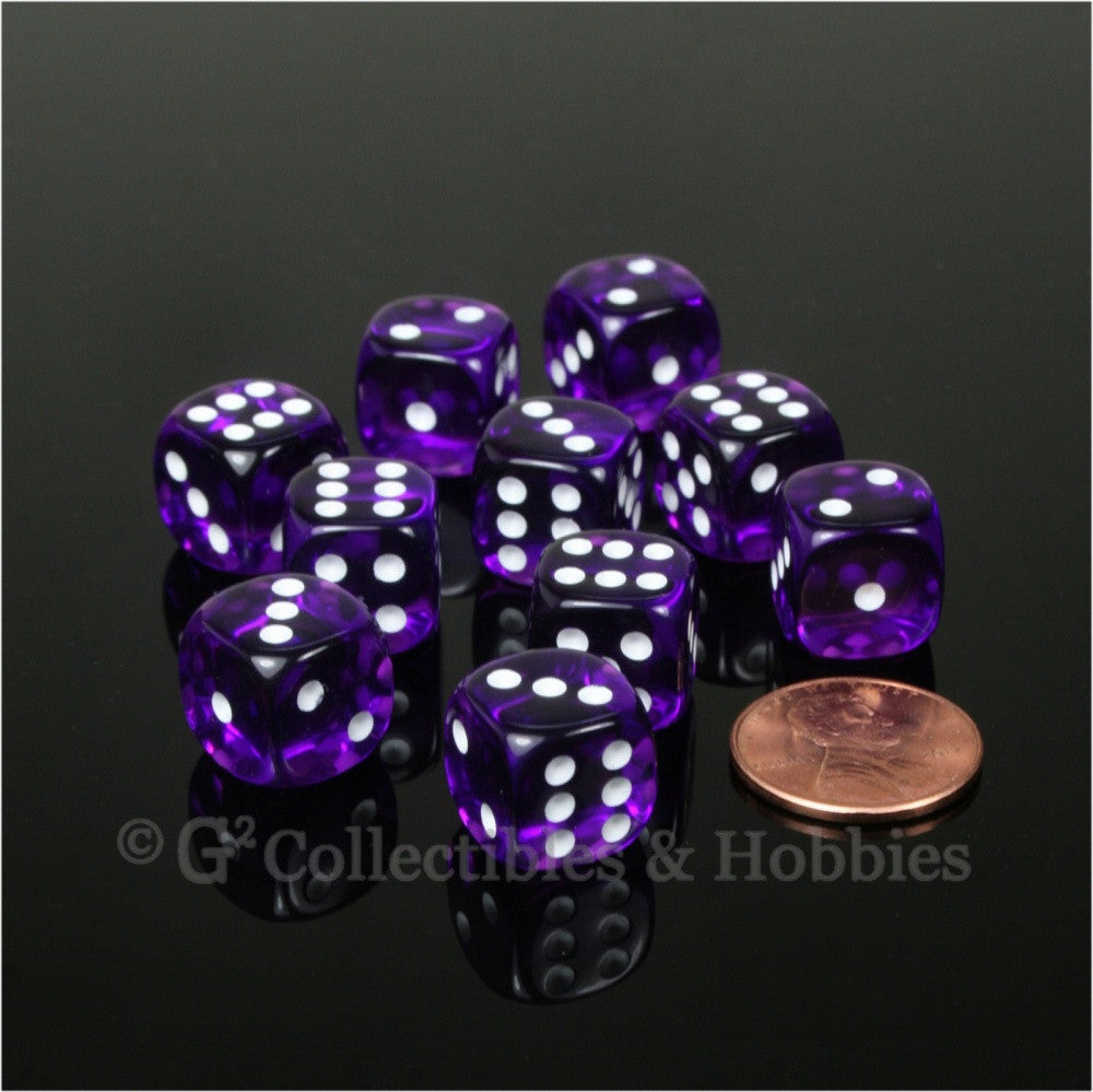 D6 12mm Transparent Purple with White Pips 10pc Dice Set