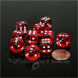 D6 12mm Transparent Red with White Pips 10pc Dice Set