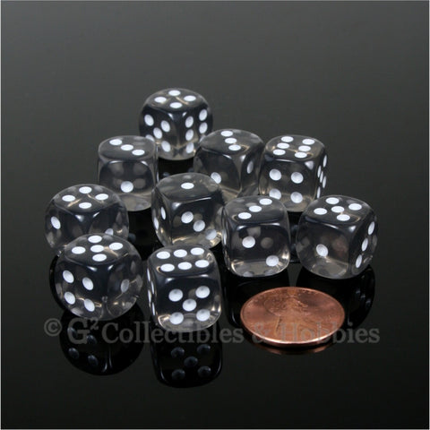 D6 12mm Transparent Smoke Gray with White Pips 10pc Dice Set