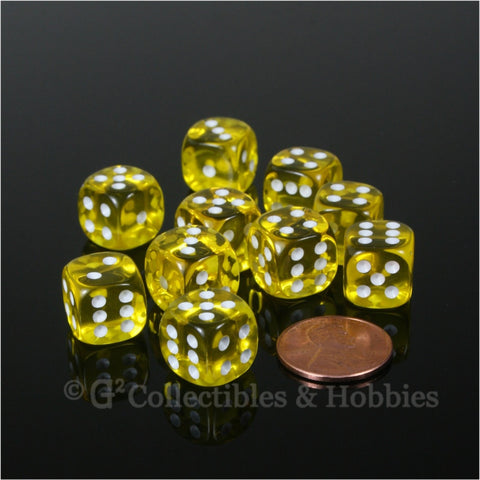 D6 12mm Transparent Yellow with White Pips 10pc Dice Set