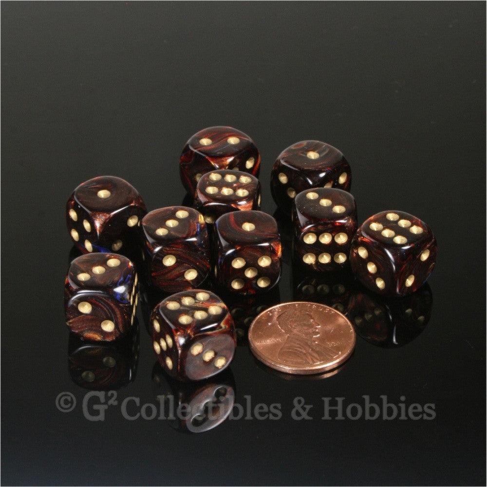 D6 12mm Scarab Blue Blood with Gold Pips 10pc Dice Set