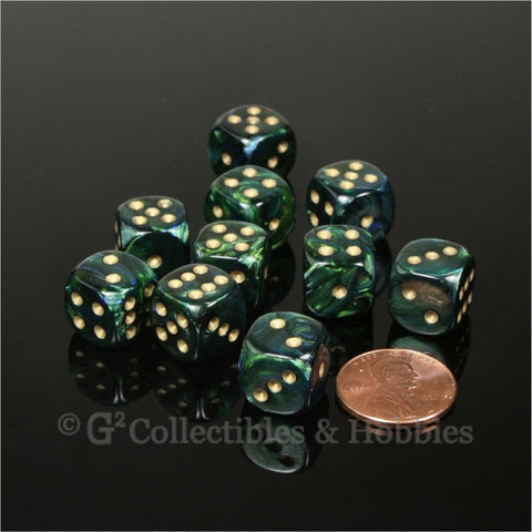 D6 12mm Scarab Jade Green with Gold Pips 10pc Dice Set