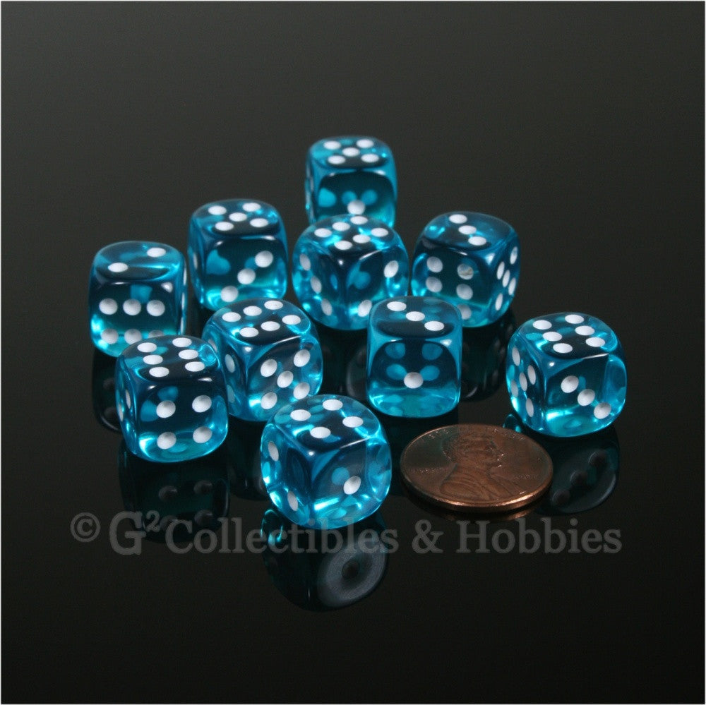 D6 12mm Transparent Teal with White Pips 10pc Dice Set