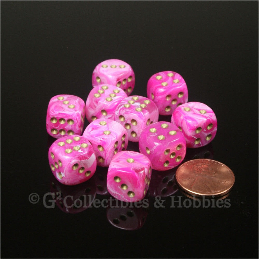 D6 12mm Vortex Pink with Gold Pips 10pc Dice Set