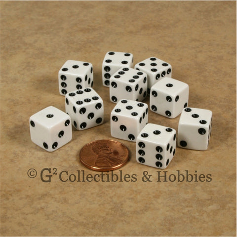 D6 12mm Opaque White with Black Pips 10pc Dice Set