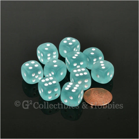 D6 12mm Frosted Teal with White Pips 10pc Dice Set