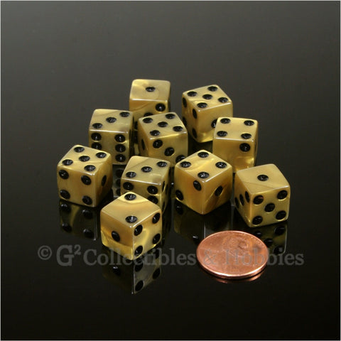 D6 12mm Pearlized Gold with Black Pips 10pc Dice Set