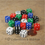 D6 12mm Rounded Edge Multicolored with White/Black Pips 20pc Dic