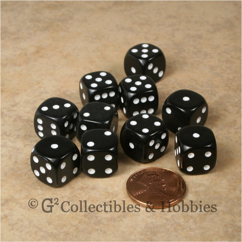 D6 12mm Rounded Edge Black with White Pips 10pc Dice Set