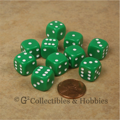 D6 12mm Rounded Edge Green with White Pips 10pc Dice Set