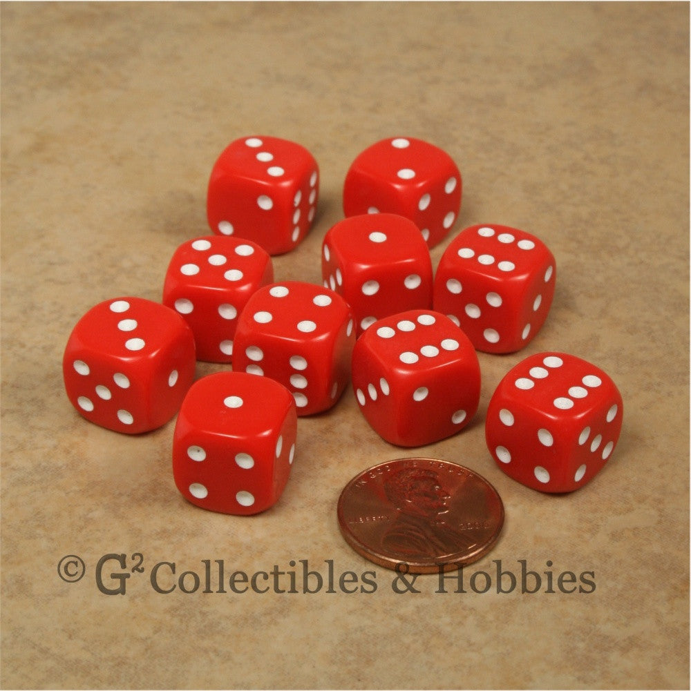 D6 12mm Rounded Edge Red with White Pips 10pc Dice Set