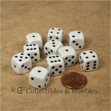 D6 12mm Rounded Edge White with Black Pips 10pc Dice Set