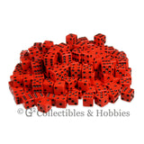 D6 16mm Opaque Red with Black Pips 200pc Bulk Set