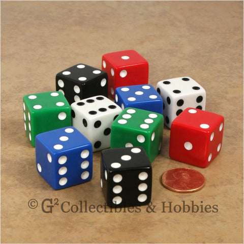 D6 19mm Opaque 10pc Dice Set - 5 Colors