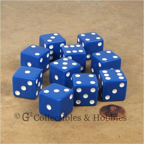 D6 19mm Opaque Blue with White Pips 10pc Dice Set