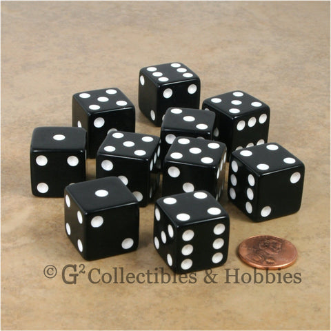 D6 19mm Opaque Black with White Pips 10pc Dice Set