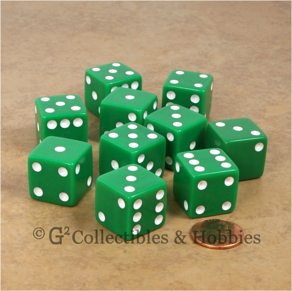 D6 19mm Opaque Green with White Pips 10pc Dice Set