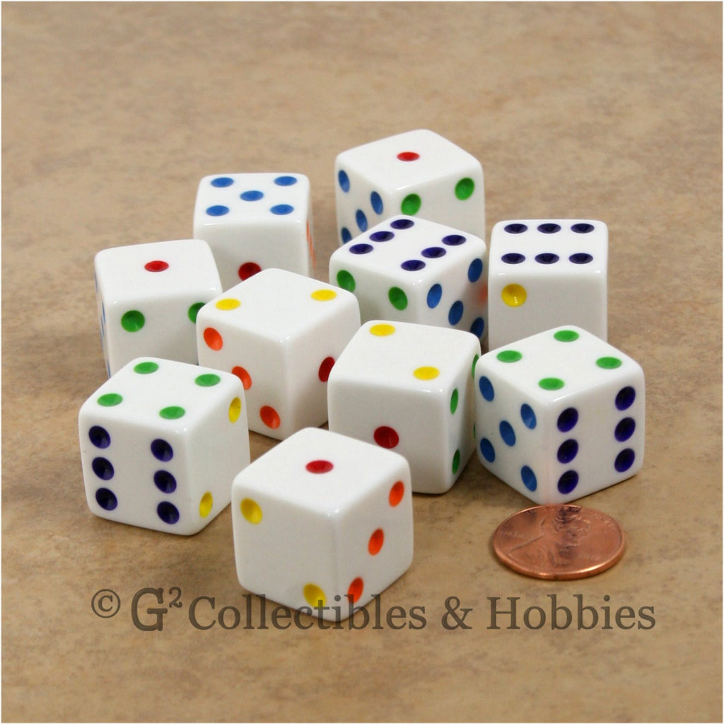 D6 19mm Opaque White with Multi-Color Pips 10pc Dice Set