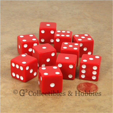 D6 19mm Opaque Red with White Pips 10pc Dice Set