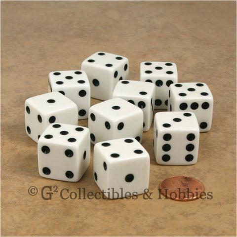 D6 19mm Opaque White with Black Pips 10pc Dice Set