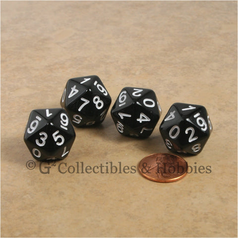 D10 (20 Sided) 0-9 Twice RPG Dice Set 4pc - Black