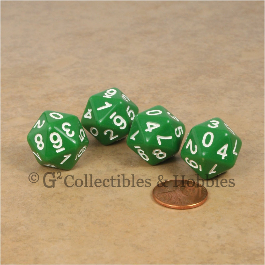 D10 (20 Sided) 0-9 Twice RPG Dice Set 4pc - Green