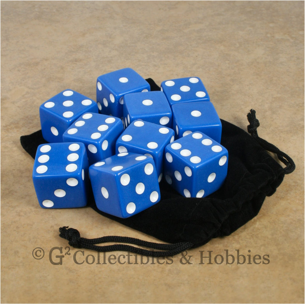 D6 25mm Opaque Blue with White Pips 10pc Dice & Bag Set