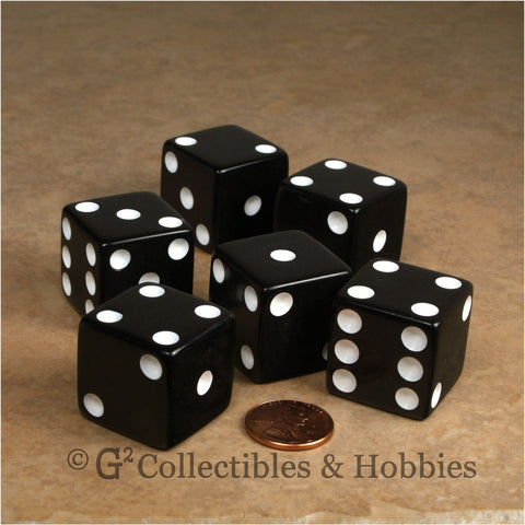 D6 25mm Opaque Black with White Pips 6pc Dice Set