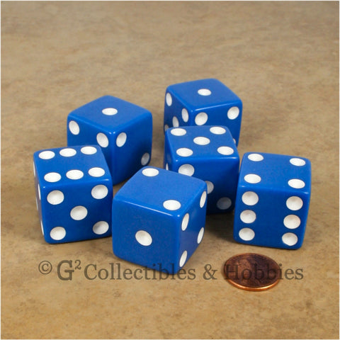 D6 25mm Opaque Blue with White Pips 6pc Dice Set