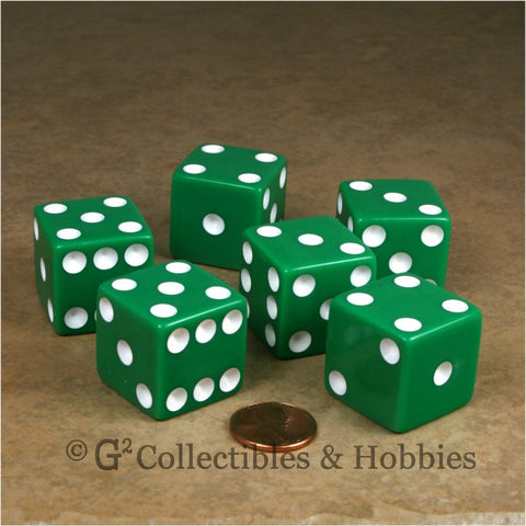 D6 25mm Opaque Green with White Pips 6pc Dice Set