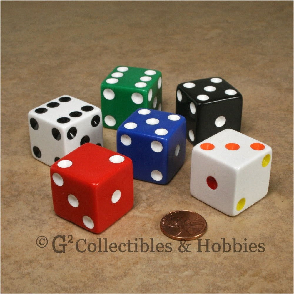 D6 25mm Opaque Multicolored with White/Black Pips 6pc Dice Set