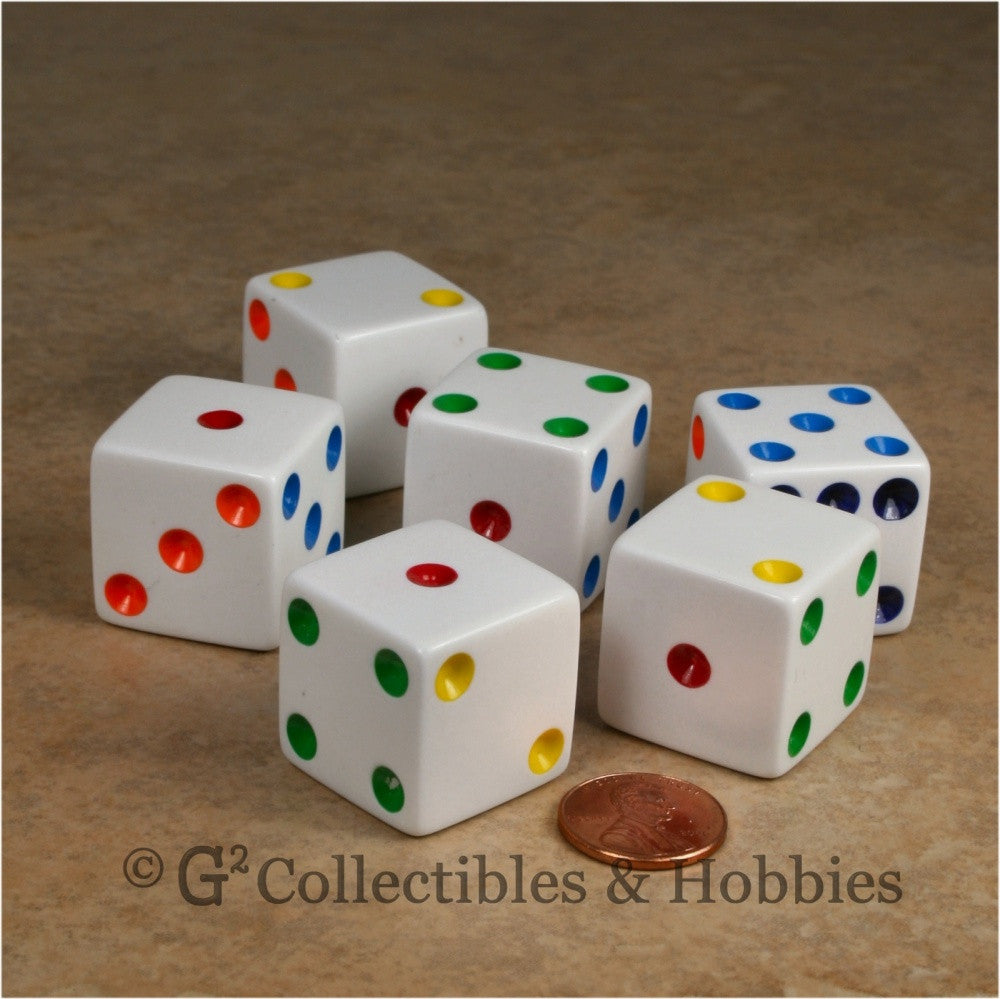 D6 25mm Opaque White with Multi-Color Pips 6pc Dice Set