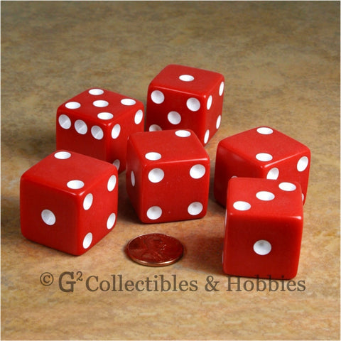 D6 25mm Opaque Red with White Pips 6pc Dice Set