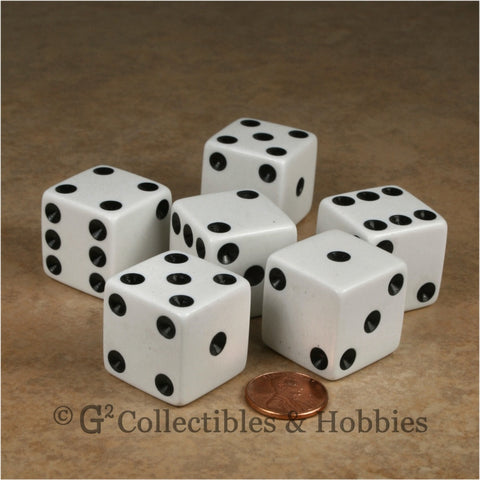 D6 25mm Opaque White with Black Pips 6pc Dice Set