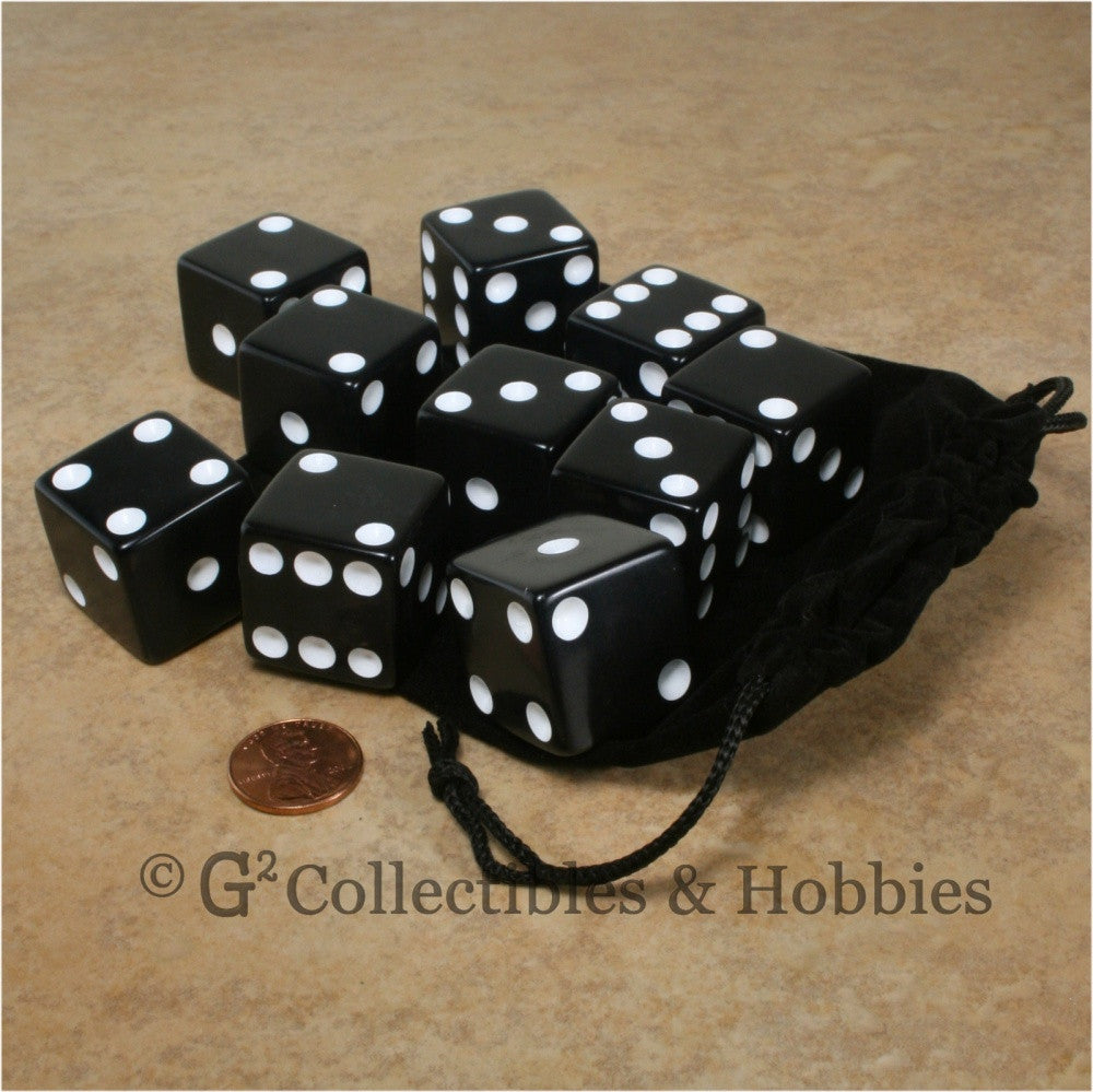 D6 25mm Opaque Black with White Pips 10pc Dice & Bag Set