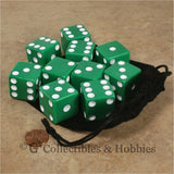 D6 25mm Opaque Green with White Pips 10pc Dice & Bag Set
