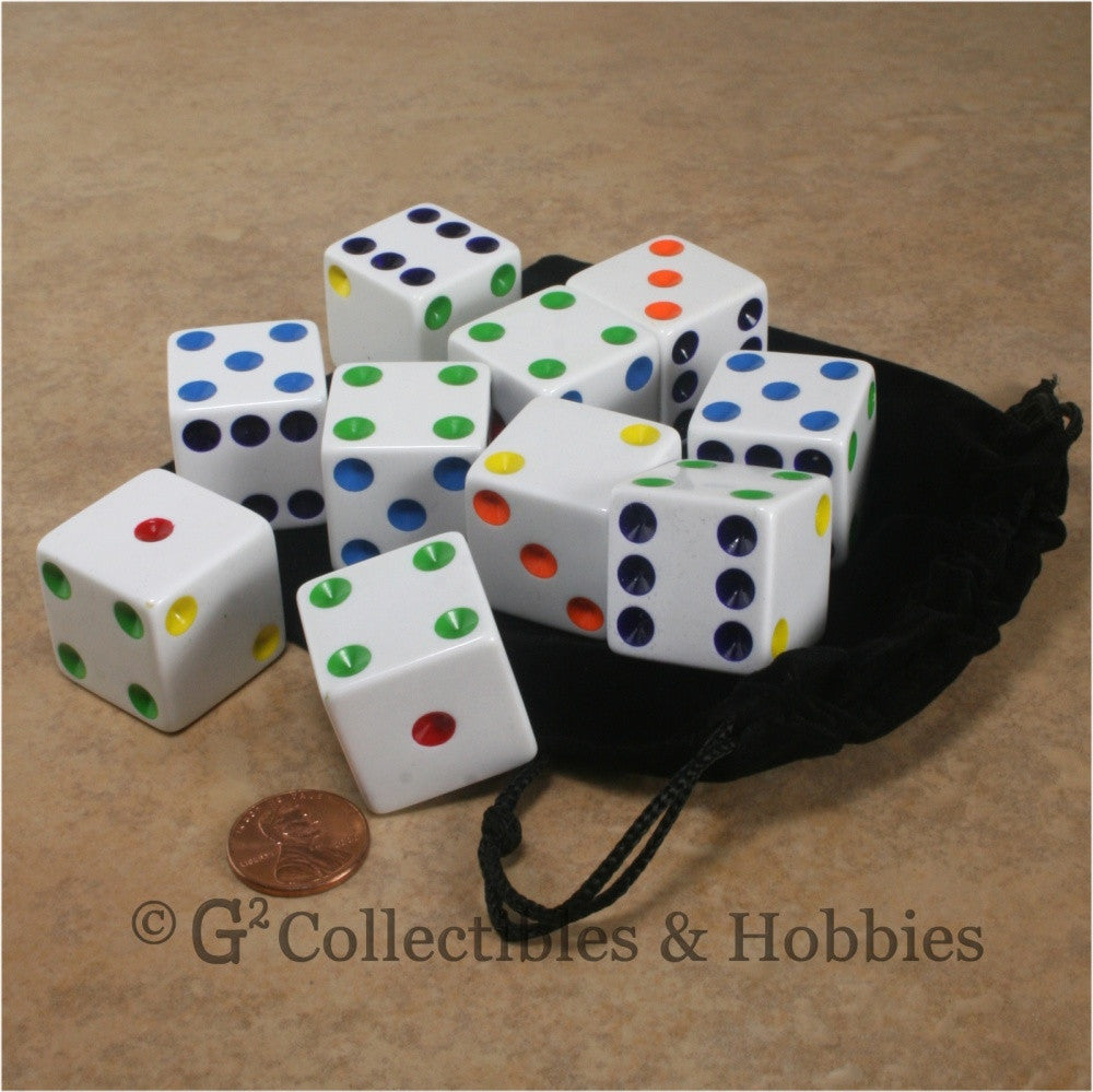 D6 25mm Opaque White with Multi-Color Pips 10pc Dice & Bag Set