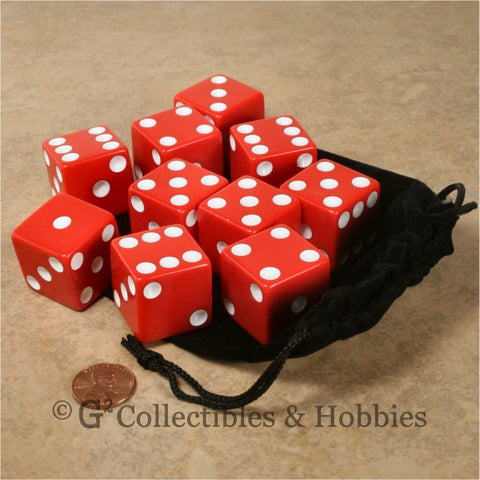 D6 25mm Opaque Red with White Pips 10pc Dice & Bag Set