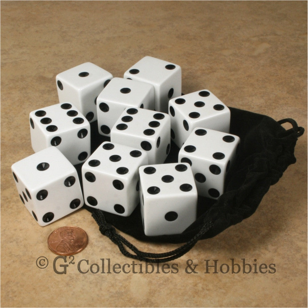 D6 25mm Opaque White with Black Pips 10pc Dice & Bag Set