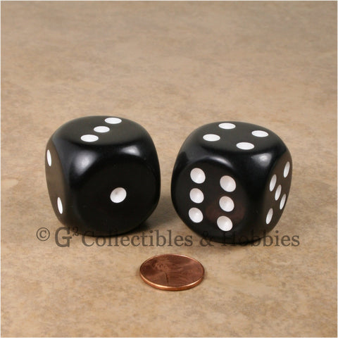 D6 Jumbo 32mm Rounded Edge Dice Pair - Black