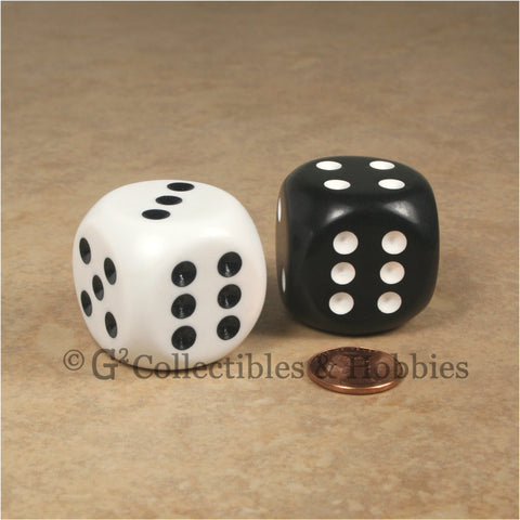 D6 Jumbo 32mm Rounded Edge Dice Pair - Black & White