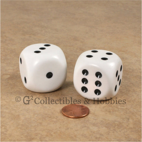 D6 Jumbo 32mm Rounded Edge Dice Pair - White