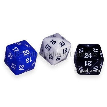 D24 Opaque 3pc Dice Set - White, Black, & Blue
