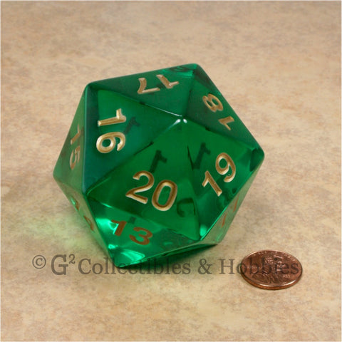 D20 Giant 55mm Transparent Emerald