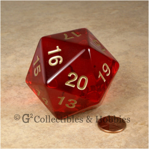 D20 Giant 55mm Transparent Ruby